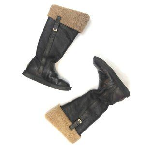 UGG Loracano Shearling Bomber Tall Boots Brown